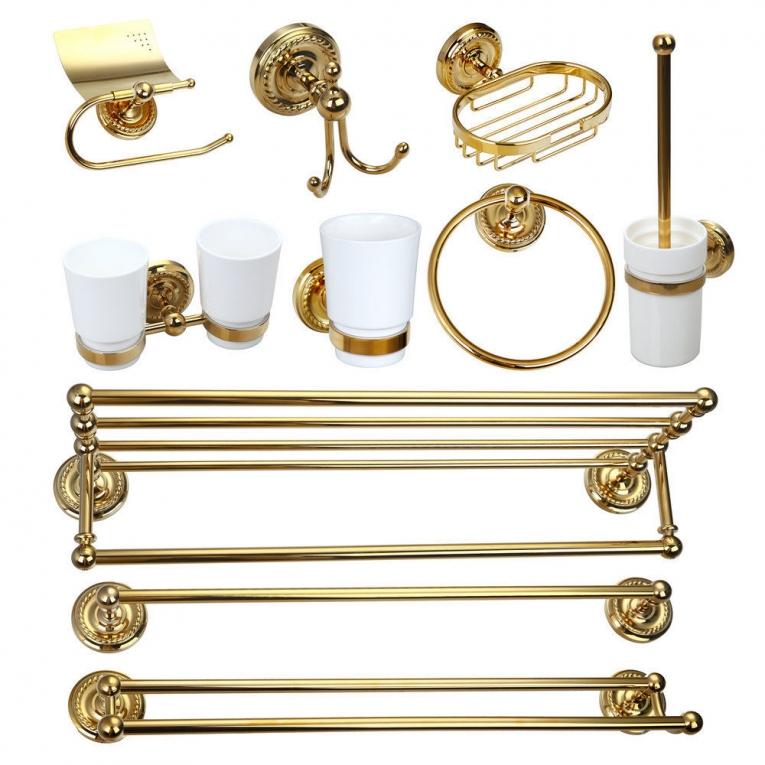 Gouden accessoire set 10 delig goudkleurig afgewerkt Voordeel set