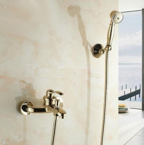 Nostalgische badkraan goud voor muurbevestiging inclusief handdouche en bevestigingsbeugel