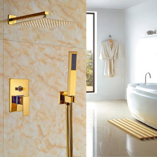 Gouden inbouw stortdouche inclusief goudkleurige handdouche