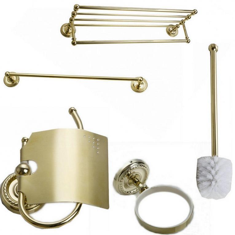 Beton Badkamermeubel ~ Goudkleurige accessoire set voor de badkamer, bestaande uit wc