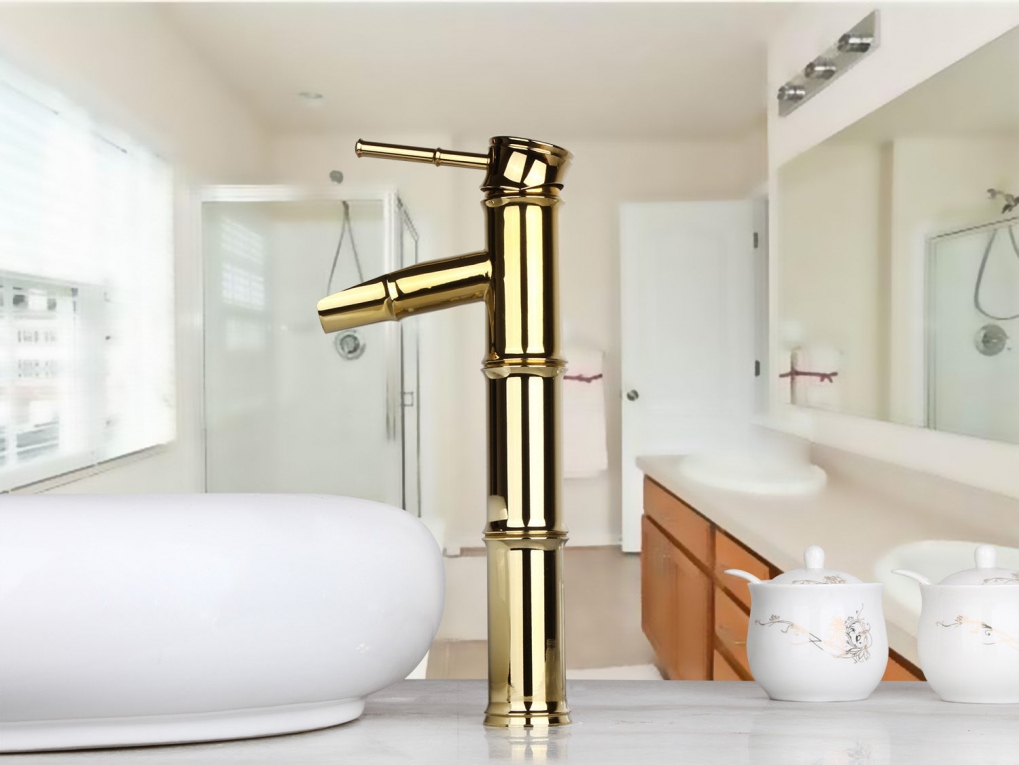 Badkamer accessoires wastafelkraan bambuk deluxe gouden design kraan - Badkamer design kraan ...