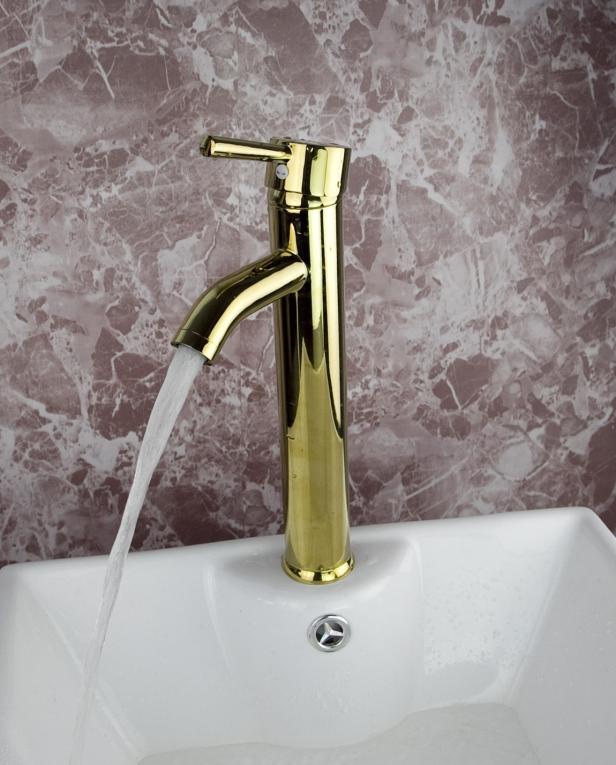 ... > Wastafel kraan Goud type Deva Deluxe Design gouden Badkamer kraan