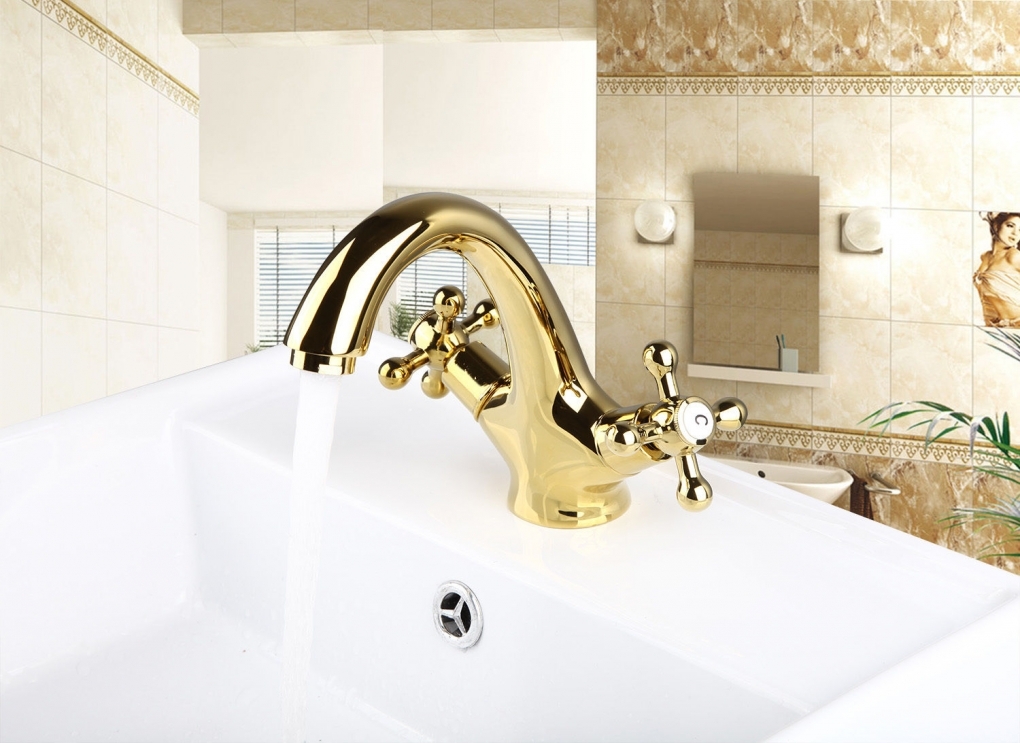 Gouden wastafelkraan tile deluxe gouden kranen watervalkraan