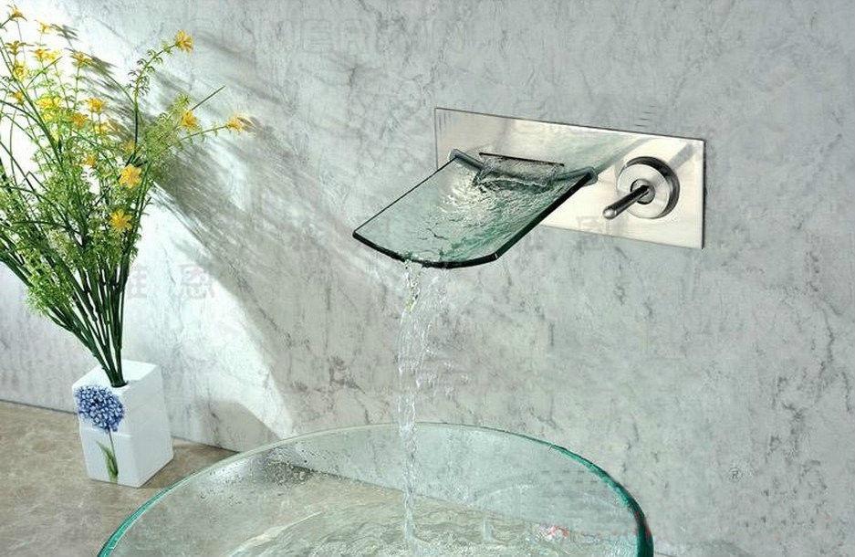 Watervalkraan Muro inbouw design watervalkraan nikkel geborsteld