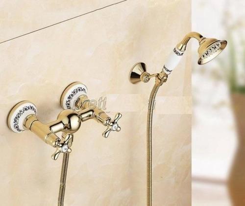 Nostalgische gouden douchekraan muurbevestiging inclusief handdouche