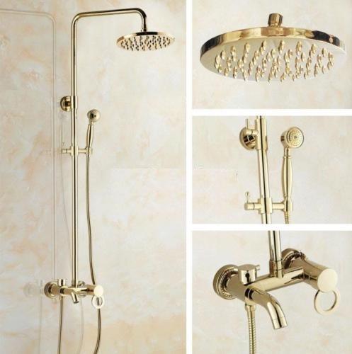 Luxe goudkleurige regendouche set inclusief badkraan functie