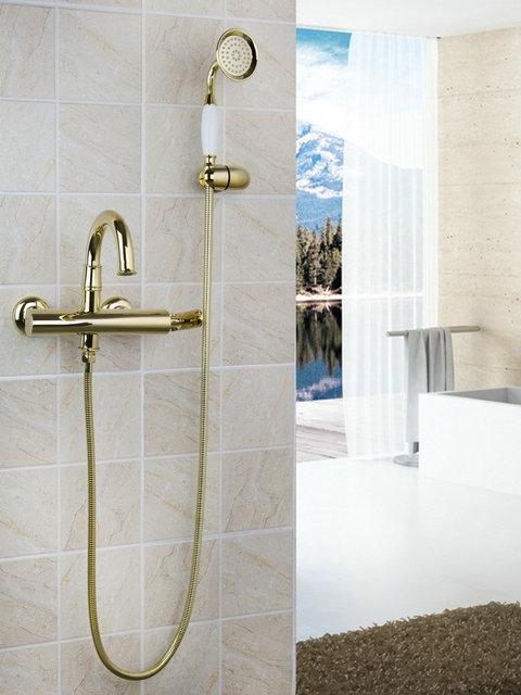 Goud kleurige badkraan Sonse Deluxe met handdouche