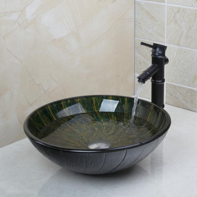 Bronskleurige olie afgewerkte wastafel kraan met hand for Waskom kraan hoog