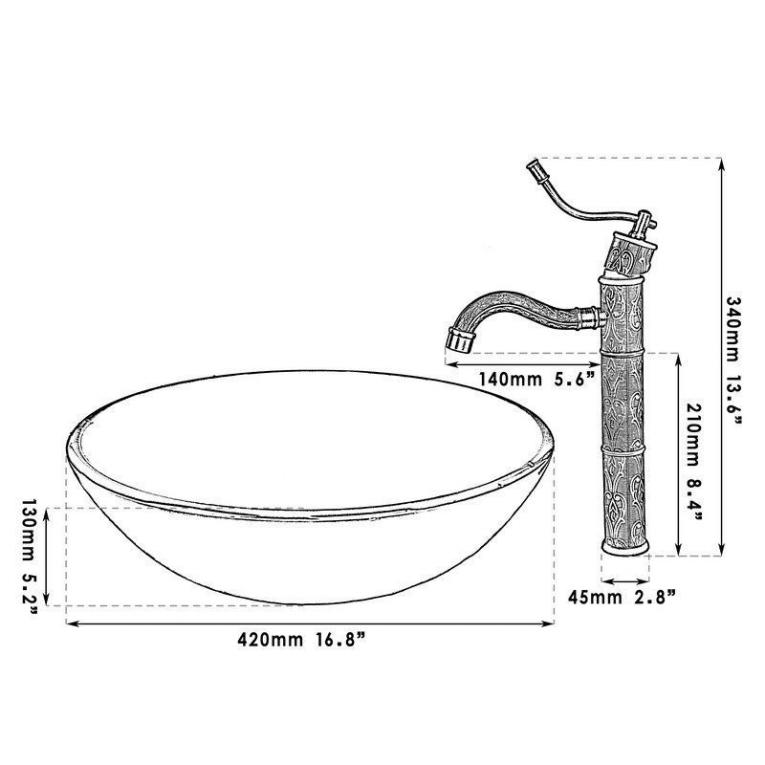 Bronskleurige afgewerkte wastafel kraan met hand for Waskom kraan hoog