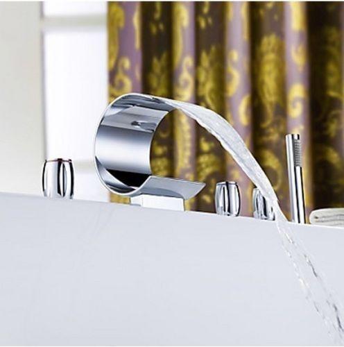Watervalkraan Type Swan Design Waterval Badkraan 5 delige set opbouw